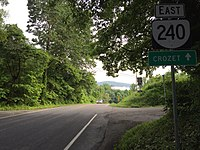 2016-06-03 08 23 09 View east along Virginia State Route 240 (Crozet Avenue) just north of Rockfish Gap Turnpike (U.S. Route 250) in Brownsville, Albemarle County, Virginia.jpg