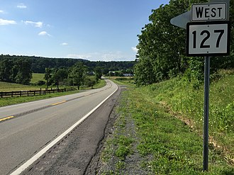 West Virginia Route 127 - View west along WV 127 just after crossing the Virginia state line near Good