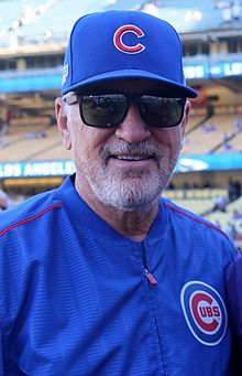 2016-10-20 Joe Maddon before NLCS Game 5 at Dodger Stadium.jpg