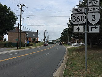 Virginia State Route 3 - SR 3 Bus and US 360 in Warsaw