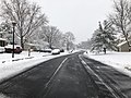 2018-03-21 12 01 27 View east along a slushy Virginia Willow Drive (Virginia State Route 7146) at Great Laurel Lane (Virginia State Route 7143) in the Franklin Glen section of Chantilly, Fairfax County, Virginia.jpg
