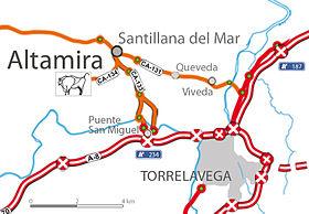 Localización de Altamira con respecto a Santillana.