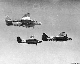422d Test and Evaluation Squadron - 422d NFS P-61 Black Widows on patrol over the landing beaches in Normandy on D-Day, on alert for any Luftwaffe aircraft