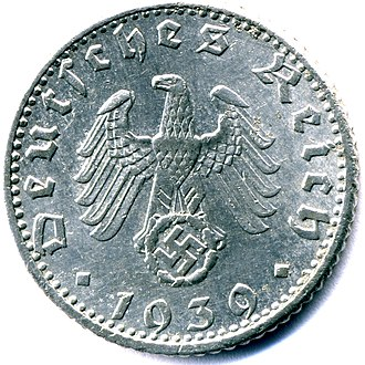 50 Reichspfennig (World War II German coin) - 50 Reichspfenning 1939e  obverse with date and swastika emblem