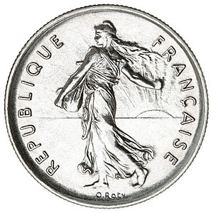 Marianne « La semeuse » on a five French francs coin (1970). - Marianne