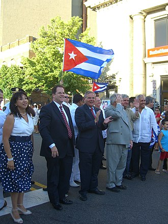 Menendez marching in the annual Cuban Day Parade in North Hudson, New Jersey 6.6.10StackMenendezByLuigiNovi10.jpg