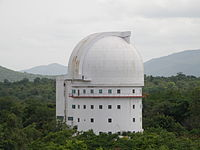 93-inch telescope seen from the 40-inch telescope at Vainu Bappu Observatory.JPG