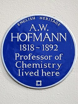 A.w. hofmann 1818 1892 professor of chemistry lived here