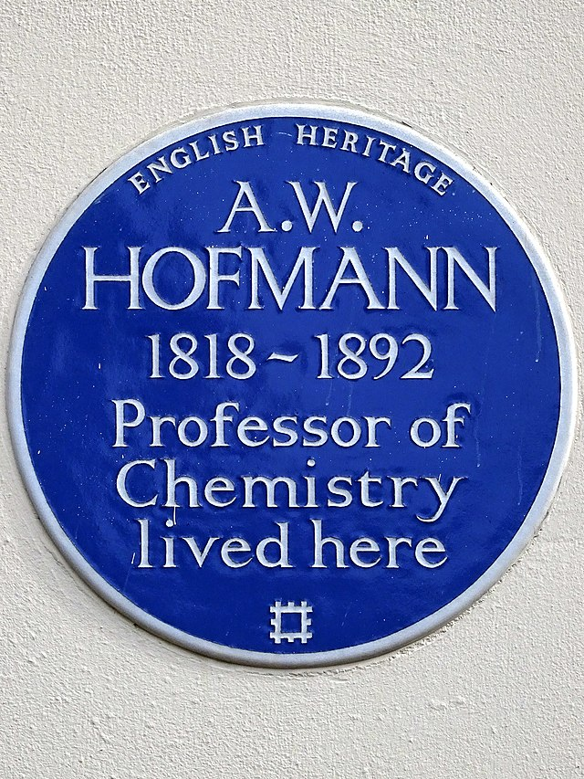 August Wilhelm von Hofmann blue plaque - A. W. Hofmann 1818-1892 Professor of Chemistry lived here