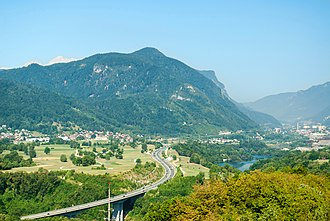 Jesenice - A2 motorway, with Jesenice on the right