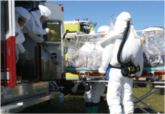 Biocontainment - The Aeromedical Isolation Team (AIT) of the U.S. Army operated mobile biocontainment equipment designed for patient care and transport from 1978 to 2010. (Photo by Bruce Maston, 2007)