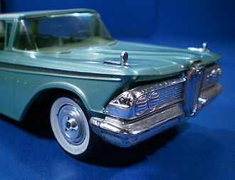 Aluminum Model Toys - 1959 Edsel Corsair with warped body panels which were made out of cellulose acetate.  Styrene bumpers did not warp.