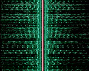Sideband - Sidebands are evident in this spectrogram of an AM broadcast (The carrier is highlighted in red, the two mirrored audio spectra (green) are the lower and upper sideband).