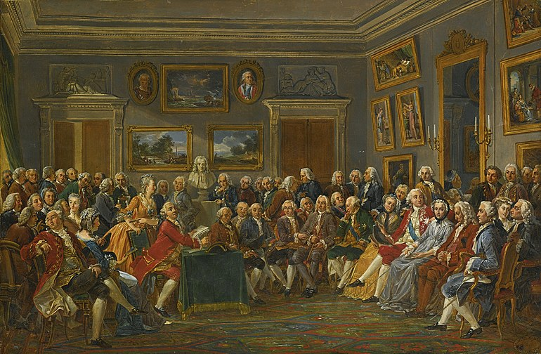 Reading of Voltaire's tragedy of the Orphan of China in the salon of Marie Thérèse Rodet Geoffrin, by Lemonnier.[note 1]
