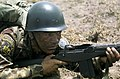 A Colombian Marine armed with an M14 rifle participates in the joint US and Colombian counterinsurgency Exercise FUERZAS UNITAS 85 DF-ST-86-11948.jpg