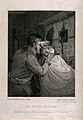 A barber shaving a man with a blunt razor. Engraving by H. M Wellcome V0019697.jpg