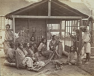 Lepcha people - A group of Lepcha shingle cutters at Darjeeling in the 1870s
