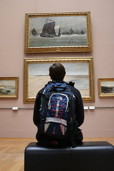 File:A man contemplating the artworks in a room of the Palais des Beaux-Arts de Lille.jpg