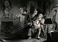 A young man is shouting at a man playing the trombone, for w Wellcome V0040376.jpg
