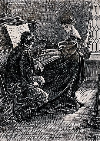 Mary Ellen Edwards - Image: A young woman plays the piano while a young man leans and li Wellcome V0039020