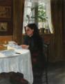 Aage Bertelsen - Kunstnerens mor, Agnes, siddende ved morgenmaden - 1900.png