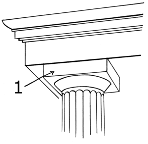 Bowtell - Bowtell - upwardly expanding curved surface found beneath the abacus - rectangle found on top of column, labelled number 1.