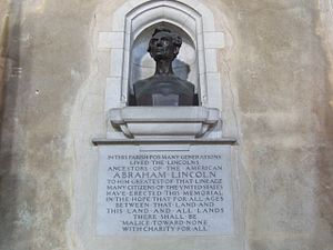 Samuel Lincoln - Bust of Abraham Lincoln, descendant of Samuel, St. Andrew's Church, Hingham, Norfolk, England
