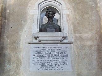 Samuel Lincoln - Bust of Abraham Lincoln, descendant of Samuel, St. Andrew's Church, Hingham, Norfolk, England