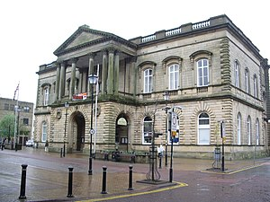 Accrington Town Hall, in Lancashire, England.