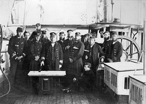 George Fowler Hastings - Image: Admiral Hastings and Group of Officers on board HMS Sparrowhawk