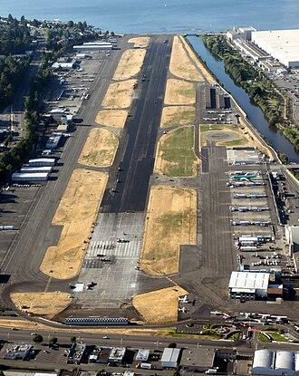 Renton Municipal Airport - Airport during a runway resurfacing project, August 2009