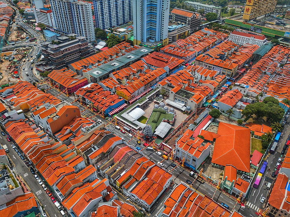 Aerial perspective of Singapore's Chinatown