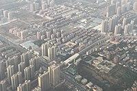 Aerial view of Longhu Town in Xinzheng, Zhengzhou 20190405.jpg