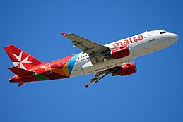 Air Malta A319 9H-AEH climbing out of FCO.JPG