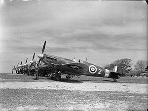 RAF Hawkinge - Spitfire Mk Vs of No. 91 Squadron lined up at Hawkinge during May 1942