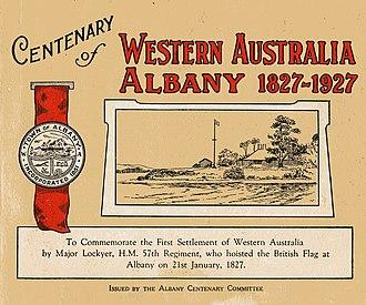 Centenary of Albany, Western Australia - Front page of Centenary of Western Australia  Albany 1827–1927