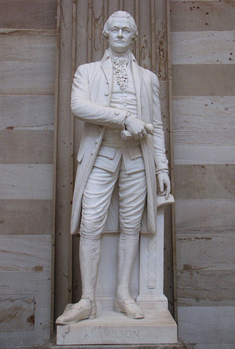 A statue of Hamilton in the United States Capitol rotunda AlexanderHamiltonUSCapStat.jpg