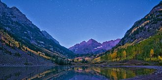 Maroon Bells - Maroon Lake and Maroon Bells, pre-dawn photo, 19 September 2012.