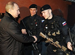Alpha Group - Russian Prime Minister Vladimir Putin shakes hands with Alpha officers during a visit to Gudermes, Chechnya in 2011