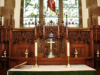 View of the altar within St Luke's church