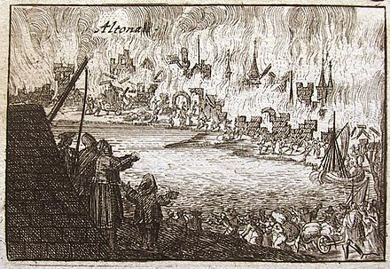 Danish Altona burned down during Stenbock's campaign (1713). Russian forces retaliated by burning down Swedish Wolgast (same year). Altona.brand.1713.jpg