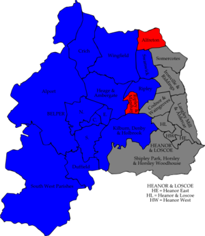 Amber Valley Borough Council elections - Image: Amber Valley 2007 election map
