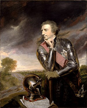 Pontiac's War - The policies of General Jeffrey Amherst, a British hero of the Seven Years' War, helped to provoke another war. (Oil painting by Joshua Reynolds, 1765).