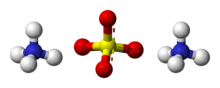 Ball-and-stick model of two ammonium cations and one sulfate anion