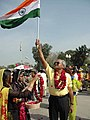 An Indian participant of the SAARC Car Rally 2007 being welcomed by the Pakistani people at the Wagah Border on March 28, 2007.jpg