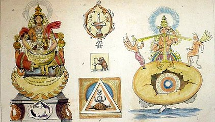 An attempt to depict the creative activities of Prajapati; a steel engraving from the 1850s, with modern hand coloring