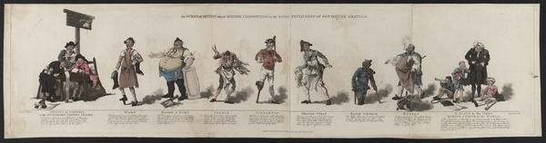Cartoon of British views on the war against Spain, Pyne 1790-1810.