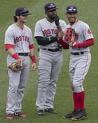 2018 World Series - Andrew Benintendi (left), Jackie Bradley Jr. (center), and Mookie Betts (right)