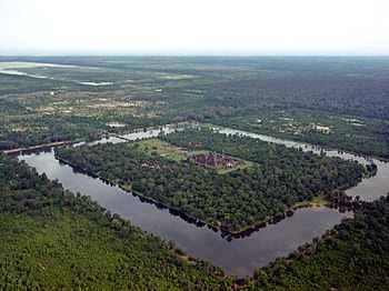 The temple of Angkor Wat, Cambodia from the air