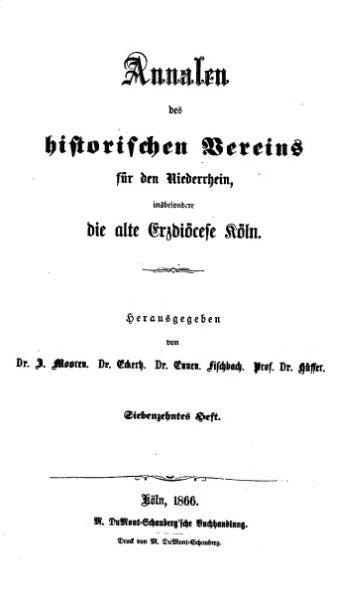 File:Annalen des Historischen Vereins für den Niederrhein 17 (1866).djvu